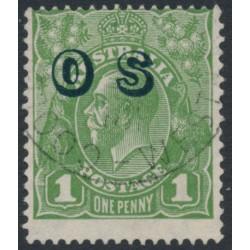 AUSTRALIA - 1932 1d green KGV Head, o/p OS, CofA watermark inverted, used – ACSC # 82B(OS)a