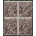 AUSTRALIA - 1919 1½d black-brown KGV Head, LM watermark inverted, block of 4, MNH – ACSC # 84Aa