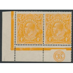 AUSTRALIA - 1915 4d orange [aniline] KGV Head, JBC monogram pair, MH – ACSC # 110A(1)z