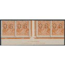 AUSTRALIA - 1917 5d chestnut KGV Head, comb perf., imprint strip of 4, MH – ACSC # 123Ezf