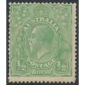 AUSTRALIA - 1915 ½d green KGV Head, single watermark, 'retouched behind King's head', MH – ACSC # 63C(6)f