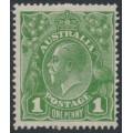 AUSTRALIA - 1924 1d green KGV Head, single watermark, 'secret mark', MH – ACSC # 77B(4)d