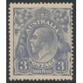 AUSTRALIA - 1924 3d violet-blue KGV Head, single watermark, die I, 'dry ink', MH – ACSC # 104Ac