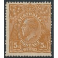 AUSTRALIA - 1917 5d chestnut KGV Head, single watermark, comb perf., MH – ACSC # 123A