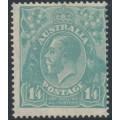 AUSTRALIA - 1927 1/4 turquoise-blue KGV Head, SM watermark, perf. 14¼:14, MH – ACSC # 129B