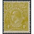 AUSTRALIA - 1933 4d olive KGV side-face, CofA watermark, MH – ACSC # 117A