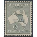 AUSTRALIA - 1915 2d grey Kangaroo, 3rd watermark, die I, mint hinged – ACSC # 7B