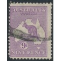 AUSTRALIA - 1919 9d violet Kangaroo, 3rd watermark, variety 'shading break over I', used – ACSC # 27A(3)d