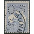AUSTRALIA - 1915 6d blue Kangaroo, die II, perf. OS, 3rd watermark inverted, used – ACSC # 19Ba + ba