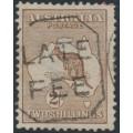AUSTRALIA - 1913 2/- brown Kangaroo,1st watermark, used – ACSC # 35A