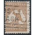 AUSTRALIA - 1929 6d chestnut Kangaroo, SM watermark with T perfin, used – ACSC # 22A