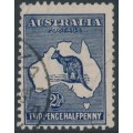 AUSTRALIA - 1917 2½d indigo Kangaroo, 3rd watermark, 'very heavy WA coastline', used – ACSC # 11C(2)da