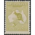 AUSTRALIA - 1913 3d olive Kangaroo, 1st watermark, mint hinged – ACSC # 12A
