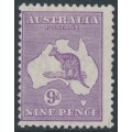 AUSTRALIA - 1932 9d violet Kangaroo, CofA watermark, 'white flaw on N of NINE', MH – ACSC # 29A(4)l