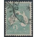 AUSTRALIA - 1920 1/- dull blue-green Kangaroo, die IIB, 3rd watermark, used – ACSC # 33C