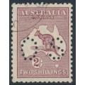 AUSTRALIA - 1929 2/- maroon Kangaroo, SM watermark, perf. OS, CTO – ACSC # 39Awa
