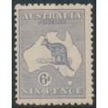 AUSTRALIA - 1915 6d dull grey-blue Kangaroo, die II, 3rd watermark, MH – ACSC # 19E