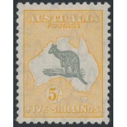 AUSTRALIA - 1932 5/- grey/yellow-buff Kangaroo, CofA watermark, MH – ACSC # 46C