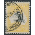 AUSTRALIA - 1915 5/- deep grey/yellow Kangaroo, 2nd watermark, used – ACSC # 43A