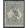 AUSTRALIA - 1924 £1 grey Kangaroo, 3rd watermark, used – ACSC # 53A