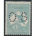 AUSTRALIA - 1929 1/- blue-green Kangaroo, SM watermark, perf. OS, CTO – ACSC # 34Awa