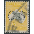 AUSTRALIA - 1929 5/- grey/deep yellow-orange Kangaroo, SM watermark, perf. OS, used – ACSC # 45Aba