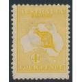 AUSTRALIA - 1913 4d orange-yellow Kangaroo, 1st watermark, mint hinged – ACSC # 15E