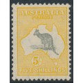 AUSTRALIA - 1932 5/- grey/yellow-orange Kangaroo, CofA watermark, MH – ACSC # 46A