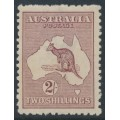 AUSTRALIA - 1924 2/- maroon Kangaroo, 3rd watermark, 'scratch in the Bight', MH – ACSC # 38A(U)g