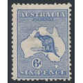 AUSTRALIA - 1913 6d ultramarine Kangaroo, 1st watermark, MH – ACSC # 17A