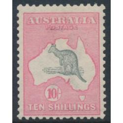 AUSTRALIA - 1913 10/- grey/pink Kangaroo, 1st watermark, mint hinged – ACSC # 47A