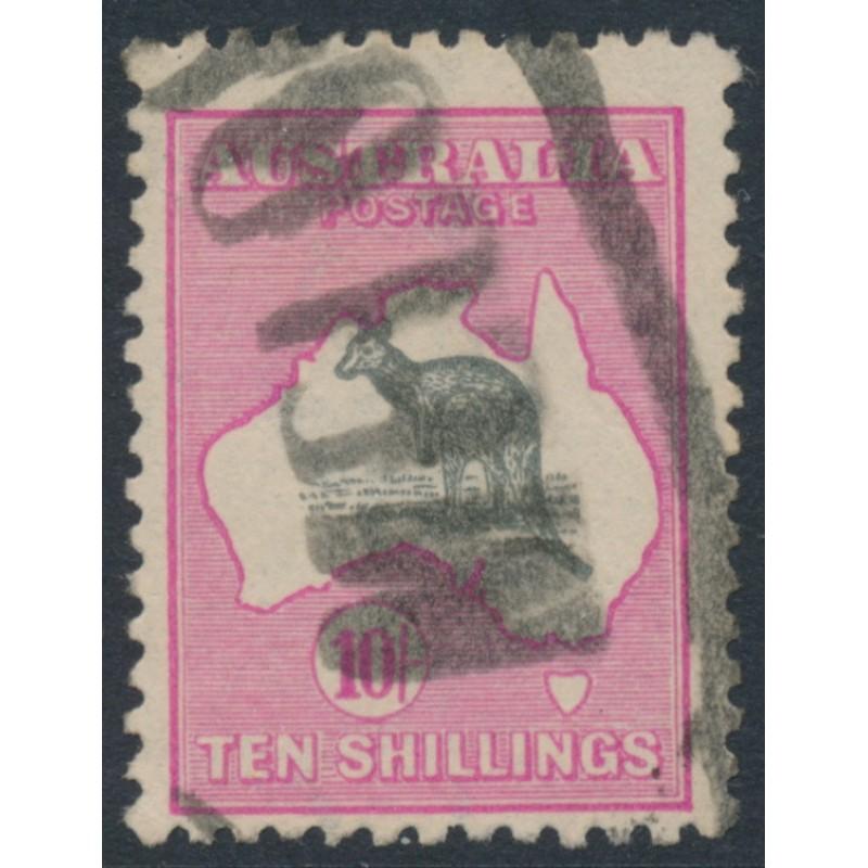 c39540769b9 AUSTRALIA - 1917 10/- grey/deep aniline pink Kangaroo, inverted 3rd  watermark, used – ACSC # 48Baa