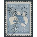 AUSTRALIA - 1915 6d dull dark blue Kangaroo, die II, 3rd watermark, perf. OS, used – ACSC # 19Cba