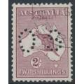 AUSTRALIA - 1924 2/- reddish maroon Kangaroo, 3rd watermark, perforated OS, CTO – ACSC # 38Cwc