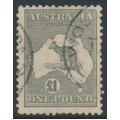 AUSTRALIA - 1924 £1 deep grey Kangaroo, 3rd watermark, used – ACSC # 53B