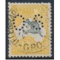 AUSTRALIA - 1915 5/- grey/chrome Kangaroo, 2nd watermark inverted, perf. OS, 'short Spencer's Gulf', used – ACSC # 43B(D)j+a+b