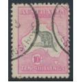 AUSTRALIA - 1917 10/- grey/pink Kangaroo, 3rd watermark, 'Kangaroo with broken tail', used – ACSC # 48E(V)e