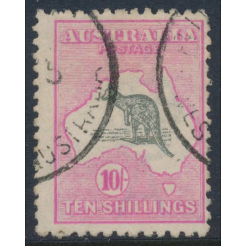 4a320aba939 AUSTRALIA - 1917 10/- grey/pink Kangaroo, 3rd watermark, 'Kangaroo with  broken tail', used – ACSC # 48E(V)e