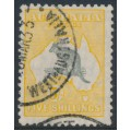AUSTRALIA - 1929 5/- grey/yellow-orange Kangaroo, SM watermark, 'Kangaroo with hooked tail', used – ACSC # 45A(V)o