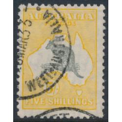 AUSTRALIA - 1929 5/- grey/yellow-orange Kangaroo, SM watermark, 'Kangaroo with hooked tail', used – ACSC # 45A(V)o