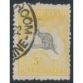 AUSTRALIA - 1918 5/- grey-black/pale yellow-orange Kangaroo, 3rd watermark, used – ACSC # 44B