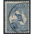 AUSTRALIA - 1915 2½d bluish indigo Kangaroo, 2nd watermark, used – ACSC # 10B