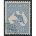 AUSTRALIA - 1915 6d dull dark blue Kangaroo, die II, 3rd watermark, used – ACSC # 19C