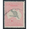 AUSTRALIA - 1932 10/- grey/pink Kangaroo, CofA watermark, 'white spot before P', used – ACSC # 50A(D)g