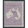 AUSTRALIA - 1919 9d violet Kangaroo, die IIB, 3rd watermark, MH – ACSC # 27A