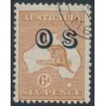 AUSTRALIA - 1932 6d chestnut Kangaroo, CofA watermark, overprinted OS, CTO – ACSC # 23A(OS)w