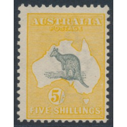 AUSTRALIA - 1913 5/- grey/chrome Kangaroo, 1st watermark, mint hinged – ACSC # 42A