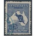 AUSTRALIA - 1917 2½d indigo Kangaroo, 3rd watermark, used – ACSC # 11C