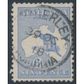 AUSTRALIA - 1915 6d ultramarine Kangaroo, die II, 3rd watermark, used – ACSC # 19A