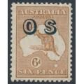 AUSTRALIA - 1932 6d chestnut Kangaroo, SM watermark, o/p OS, MNH – ACSC # 22A(OS)